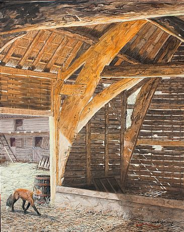Barn Storming - old barn and box by Suzie Seerey-Lester