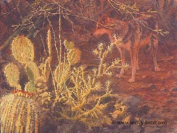 Sonora Sundown - Mexican Wolf - Small Wildlife Painting by John Seerey-Lester