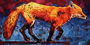Just Keep Moving - Red fox by Carrie Cook