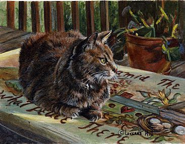 What peace there is (sold) - cat by LaVerne Hill