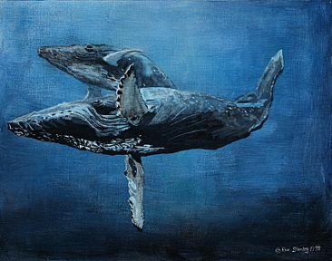 - Whales - Humback whale mother and calf by Eva Stanley