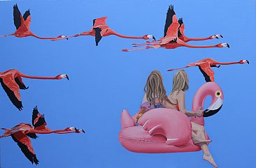 Flight of the Flamingos - Flamingos by Margaret Ingles