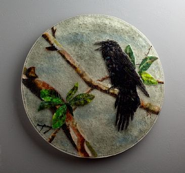 Raven in Round - Raven on Pacific Madrone Tree by Kathleen Sheard