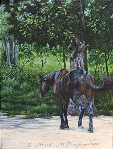 Headed for Shade - Equine/Tennessee Walker mix by Marti Millington