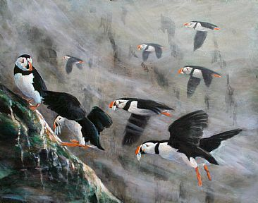 Puffins (Sold) - Puffins by Wayne Chunat