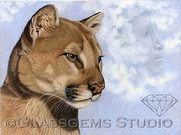 Animal Totem; Cougar and the Cloud Spirits - Cougar by Gemma Gylling