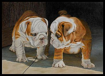 English Bulldog Puppies - Painting Art by Gemma Gylling