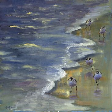 Dodging the Waves - Sandpipers  by Dianne Munkittrick