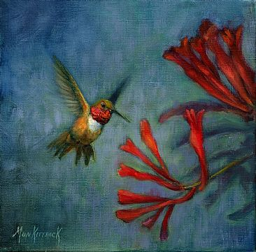 Sampling the Goods - Hummingbird and honeysuckle by Dianne Munkittrick