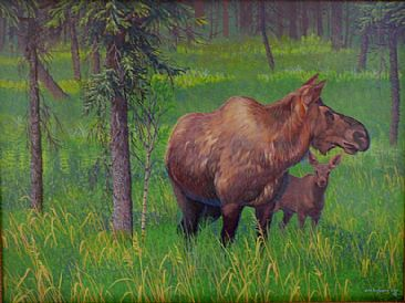 Mother's Day - Moose cow, and calf by John Lofgreen