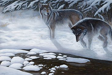 Moonlit Stroll - Grey Wolves by Cindy Sorley-Keichinger