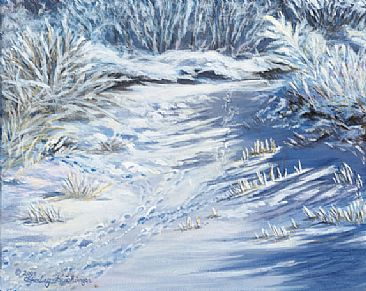 Winter Study - frosty winter frozen creek by Cindy Sorley-Keichinger