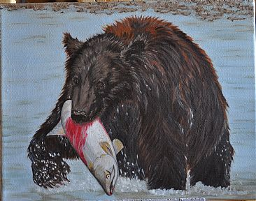 Katmai Sushi - Grizzly with chum salmon by Peggy Chapman