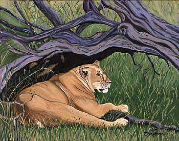 Serene Moment - Lioness escaping the hot sun by Peggy Chapman