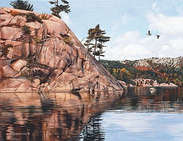 Granite Passage - Landscape/Geese by Barbara Kopeschny