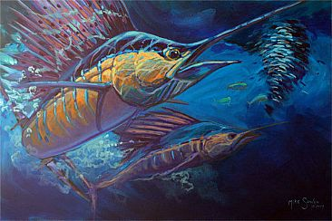 Rainbow Warrior - Sailfish Painting by Joe Triano - Rainbow