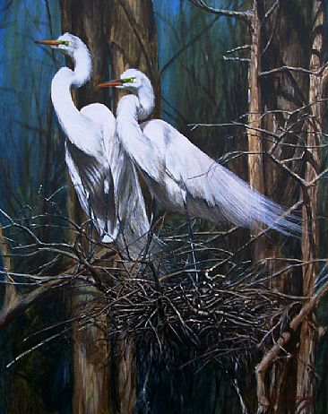 Love Birds - Portrait of a pair of Snowy Egrets on the nest by Rob Dreyer