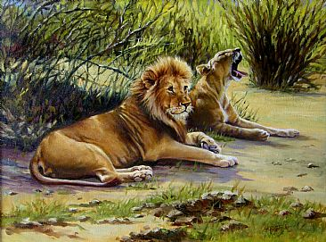 Lion pair - Big Cats by Werner Rentsch