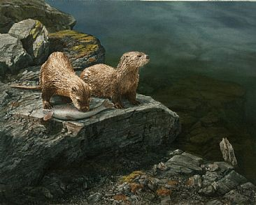 Table For Two - Two River Otters by Karla Mann