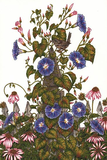 Ring Around the Rosie - Morning glories on post with a House wren by Vicki Renn