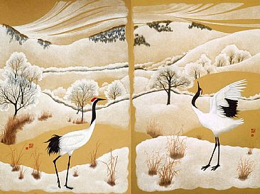 Red-Crowned Cranes - Grus japonensis by Solveig Nordwall