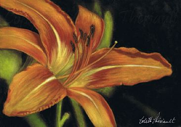 One Day at a Time (SOLD) - botanical lily painting by Colette Theriault
