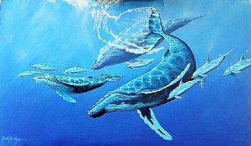 Rhapsody In Blue - Humpback Whales and Bottle Nose Dolphins by Frank Walsh