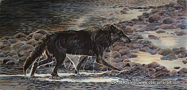 Midnight Swim- Black Wolf - Black Wolf by Karyn deKramer
