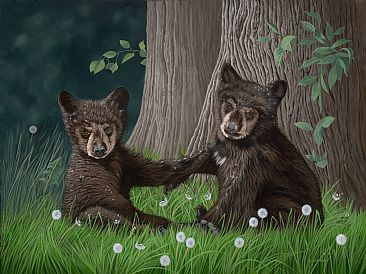 Playful Cubs - Black Bear Cubs by Lynn Erikson