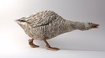 Hissing Goose - Embden goose by Peter Gray