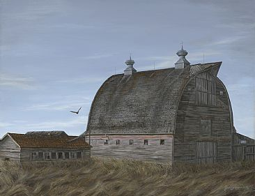 Unandoned - Great Horned Owl and Barn by Josh Tiessen