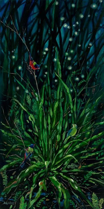 Night Moves - Female and two male Painted Buntings with Strap Fern in a Cypress Hammock by Megan Kissinger