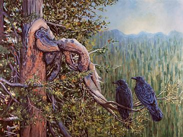 Thought and Memory, Ravens of Wyoming - Two Ravens on Pine Tree Near the Grand Teton Range by Megan Kissinger