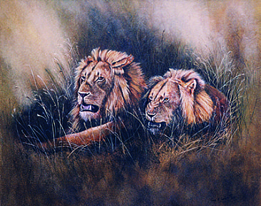 Lions On Kill; sold at charity auction - Lions by Anne Corless