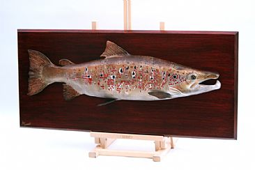 Male Atlantic Salmon trophy plaque - Realistic Salmon trophy plaque by Yves Laurent