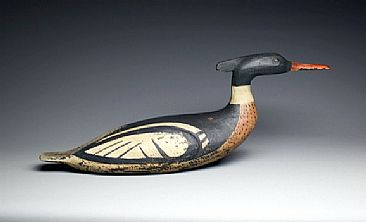 Contemporary antique Red Breasted merganser decoy - Antique reproduction of a hunting decoy by Yves Laurent