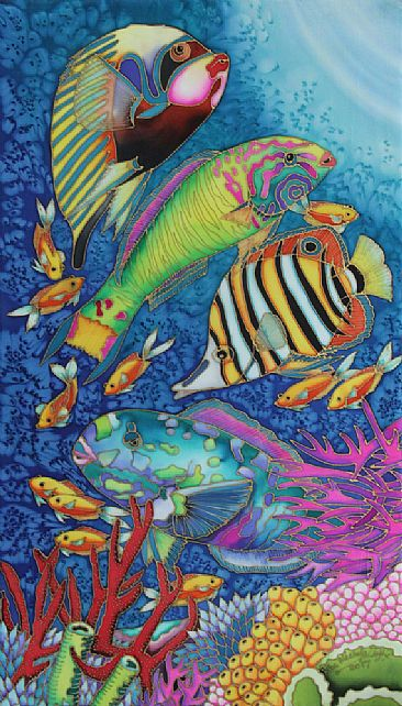 Fish Party V - A group of colourful tropical fish by Kim Toft