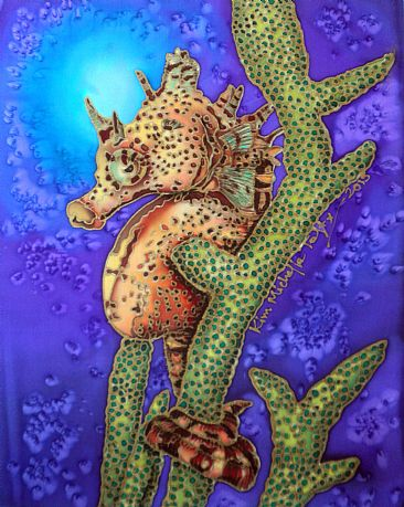 Pigmy  Seahorse  - Painting stretched silk only , no frame. by Kim Toft