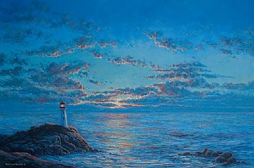 Night Light - lighthouse seascape by Patricia Banks