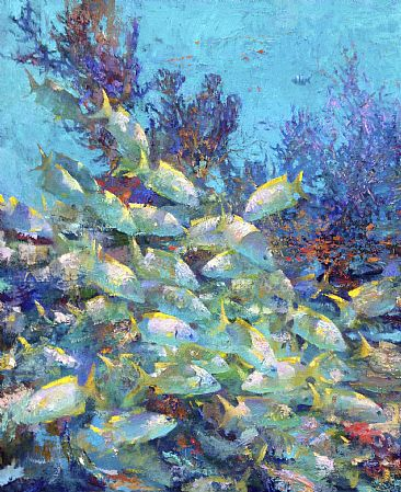- French Grunts, fish, coral by Nansi Bielanski