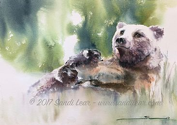 Tendresse - Grizzly Bear mother with cubs by Sandi Lear