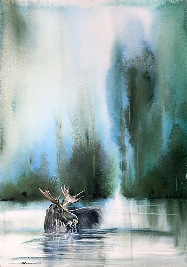 Solitude - Moose by Sandi Lear