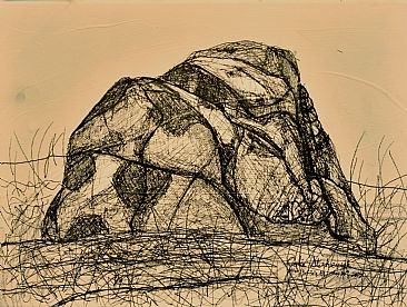 Rattlesnake Erratic Drawing - Rattlesnake, Erratic, Boulder, Plein Air by Colin Starkevich