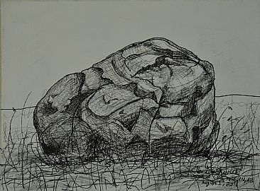 Erratic Drawing - Earratic, boulder, rock by Colin Starkevich