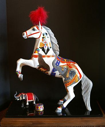 THE MAGNIFICENT CIRCUS HORSE - Rearing Masterwork size horse  by Maria Ryan