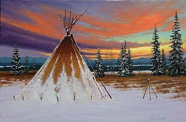 Closed for Winter - A Teepee in Winter by Bill Scheidt