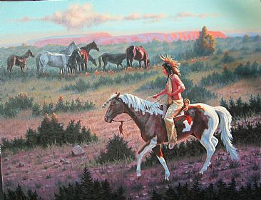 Easing In - Native American & Equine by Bill Scheidt
