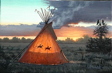 Daybreak - Teepee at dawn by Bill Scheidt