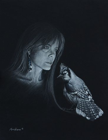 Whisper Song - Self-portrait and Blue Jay by Kelly Dodge