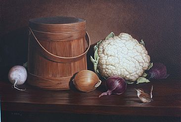 Fall Harvest - Still life w/wren by Ron Orlando